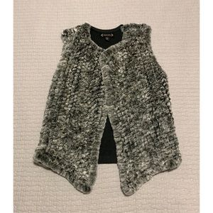 Faux Fur Grey Knitted Vest